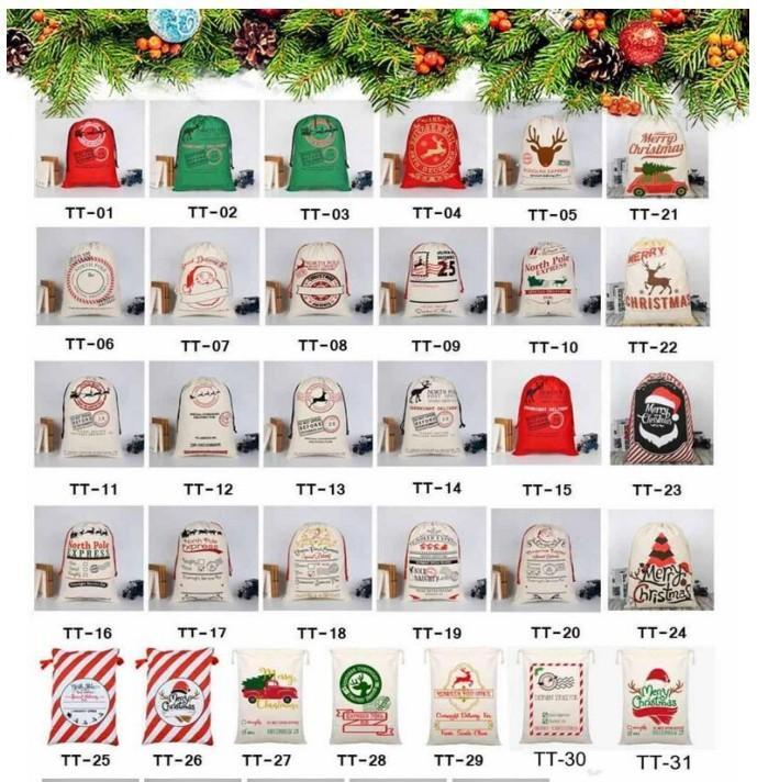 US stock DHL fast Christmas Gift Bag Sack Drawstring Santa Claus Cotton Storage Candy Bag Large Kids Toy Party Decoration CS10