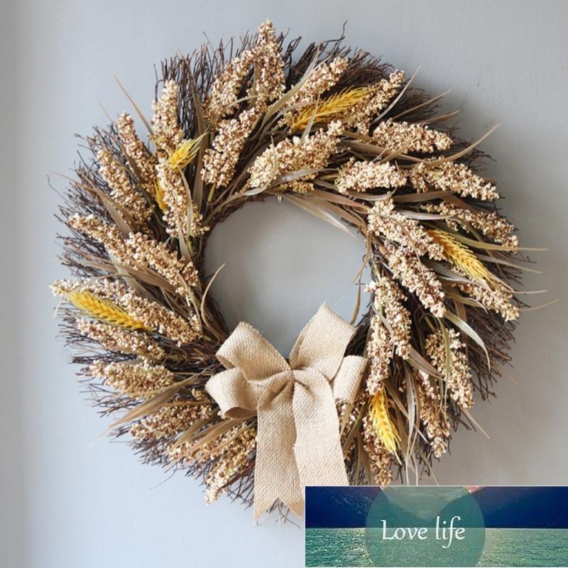 Grinalda de grãos artificiais com graveza de colheita de outono bowknot para porta da frente e feriado de ação de graças ornamento decorativo novo
