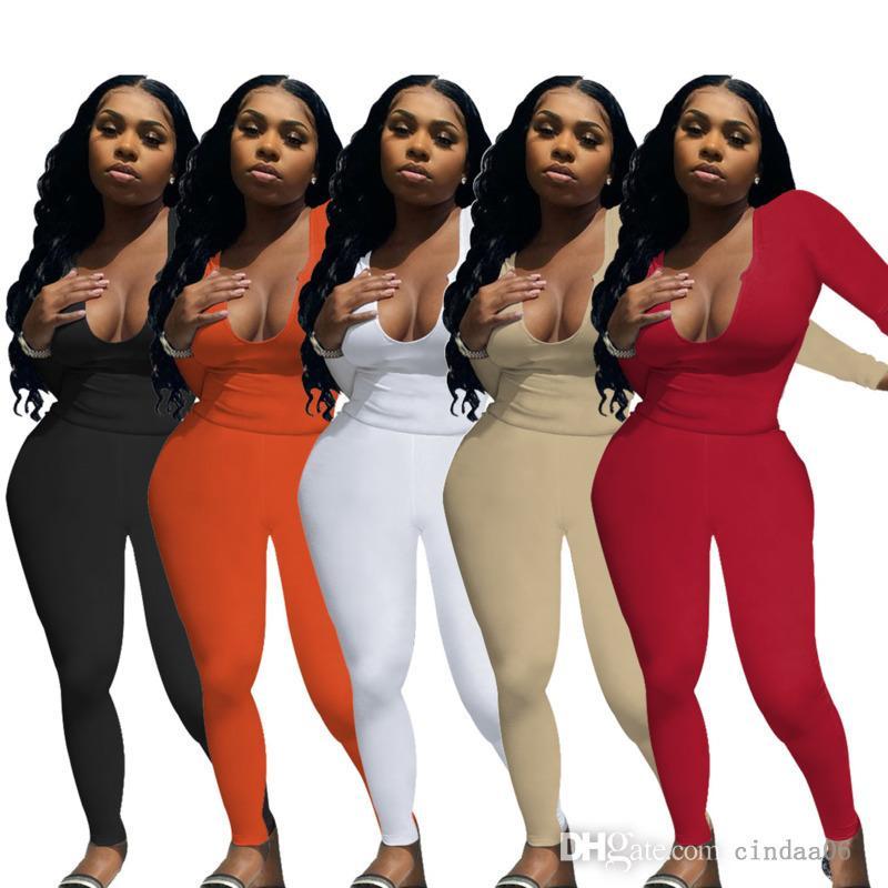 Kadınlar Sonbahar Eşofman Koyu V Yaka Uzun Kollu İki Parçalı Pantolon Setleri Katı Renk Elastik Tasarımcı Kazak Bayan Yoga Takım Rahat T Gömlek Pantolon Ince Kıyafetler