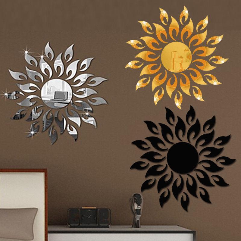 FAI DA TE Pareti Decor Sun Mirror Sticker Wall Sticker 3D Sfondo TV Adesivi Decalcomania Art Murale Bedroom Beach Room Decoration