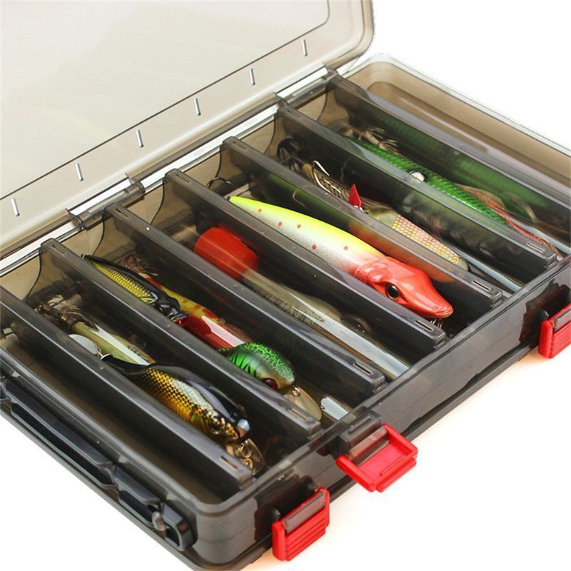 Abbigliamento da pesca Scatola per esche 18.5x27.5x5cm Storage per esterni in plastica con doppio lato 14 Grid Bait Kit Accessori