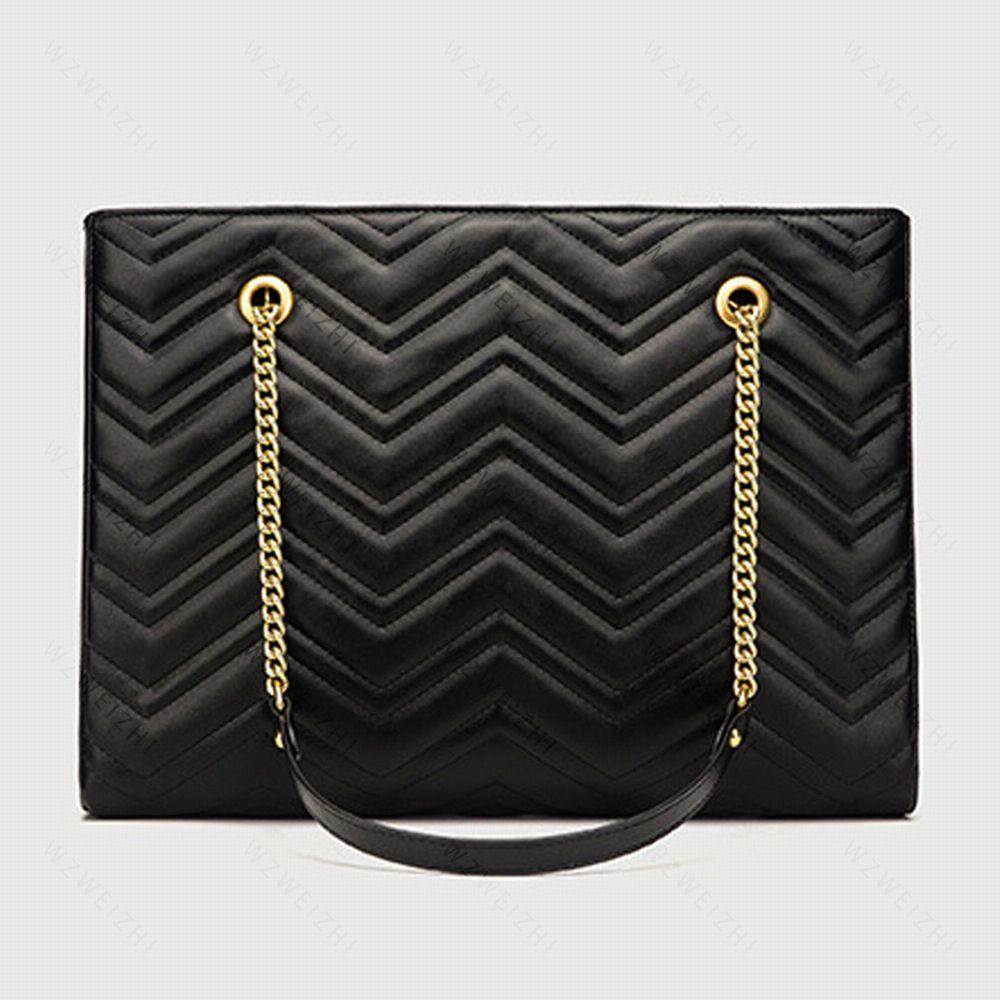 Hızlı Teslimat Son Moda Kadınlar Siyah Marmont Zincirler Çanta Deri Crossbody Lady Çanta Çantalar Sırt Çantası Tote Omuz Çantası Çanta 28 cm