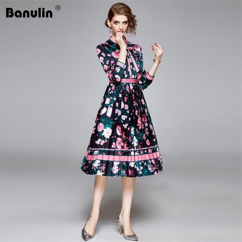 Desenhador de pista de outono elegante vestido plissado mulheres manga longa floral impresso ponto imprimir curva vestidos 210521