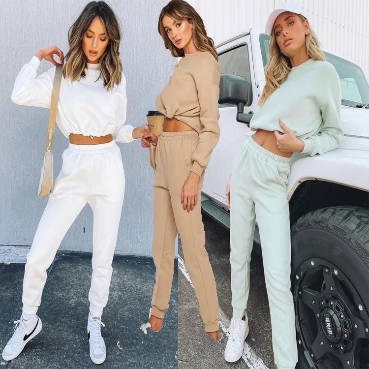 Mince Veet Spring Fall Sweatshirt Sweatshirt à manches longues Pant Deux Morceau Sport Cuisson Fashion Femelle Joggers Femmes Set