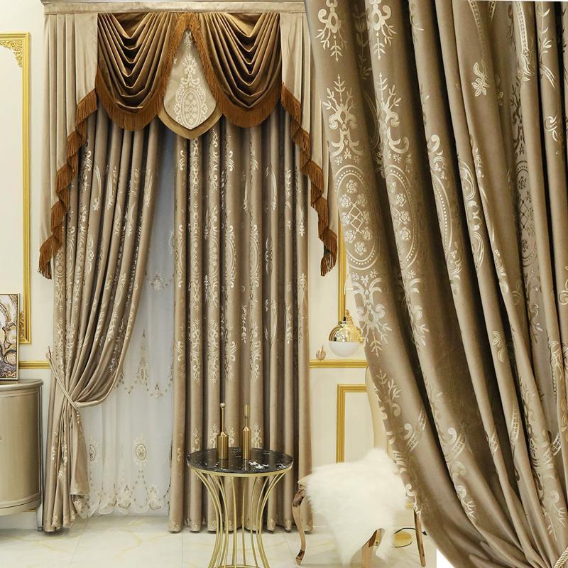 Avrupa Lüks Salon Yaldızlı Flanel Kat Perde Fransız Basit Yatak Odası Gölge Bez Özelleştirme Perdeleri