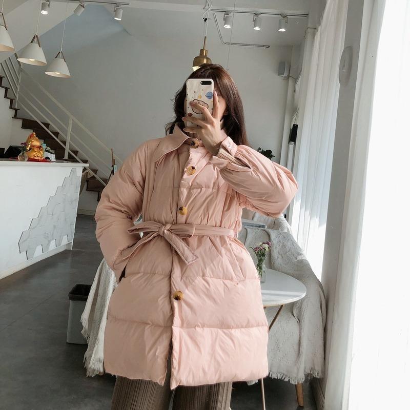 Temperamento invernale Moda giù da donna a mezza lunghezza stile coreano slim vita cravatta A-line giacca grande tasche piccoli bambini
