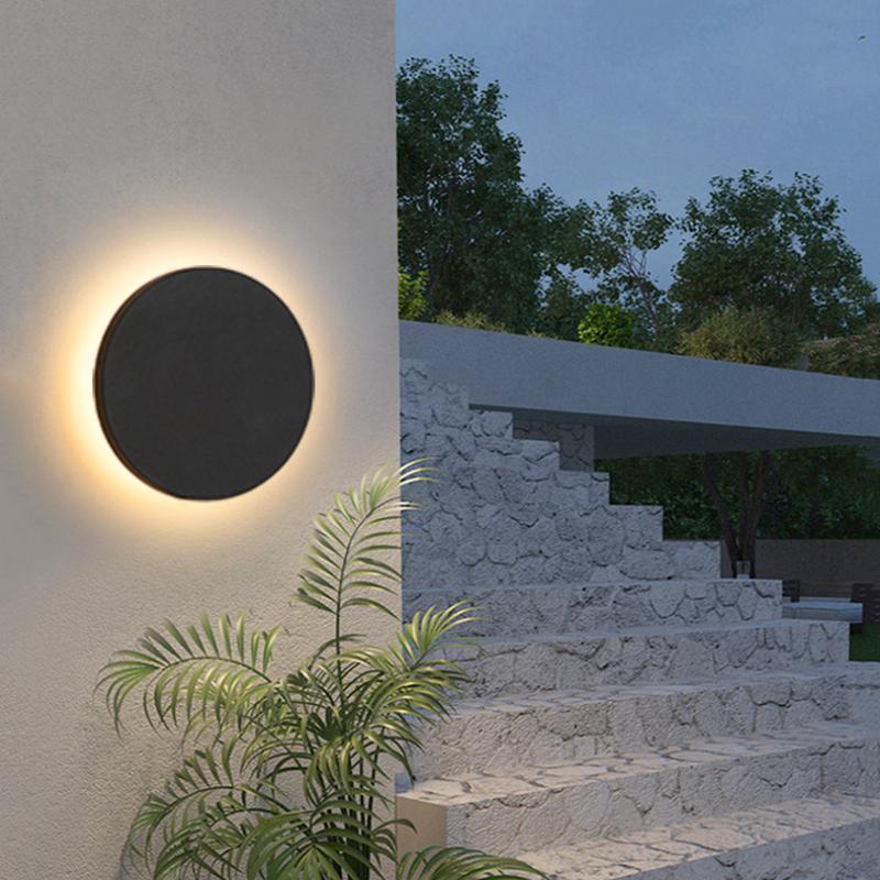 Современный IP65 Водонепроницаемый открытый светодиодный настенный лампы алюминиевый круглый квадрат света сад крыльцо Sconce 96V 220 В светильники светильники