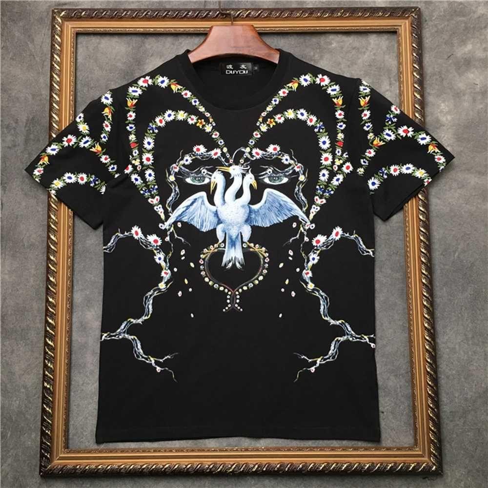 Marcelo Barrett erkek 100% pamuk t shirt vinçler ve çiçekler baskı yuvarlak yaka kısa kollu t-shirt Streetwear M   2021101549