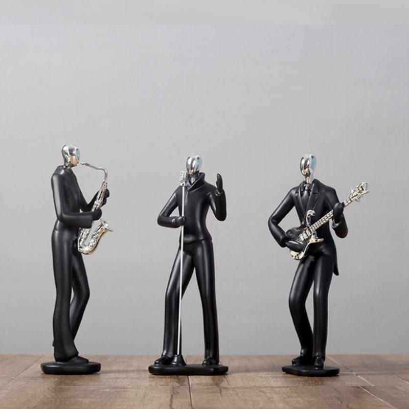 Nórdico Simples Músico Banda Violino Santa Esportes Homem Estátua Preto Figurines Armário Ornaments Casa Decoração Moderno Dom Stylish Presente 210326