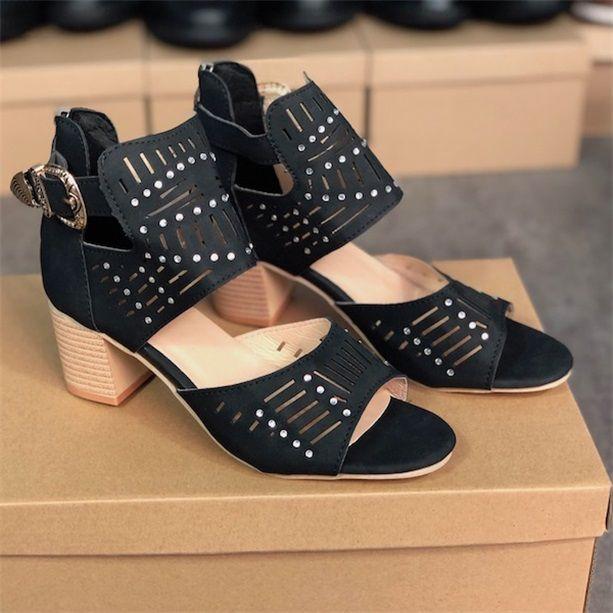 2021 المرأة عالية الكعب الصنادل الخشنة كعب الفاخرة جلد الغزال الأحذية مشبك سستة عودة أزياء حزب الزفاف صندل W6