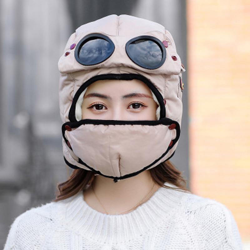 Erkekler kadın Kış Açık Gözlük Örgü Şapka Kayak Kap Balaclava Maskesi Yüz Boyun Koruma Kalınlaşmış Eşarp Sıcak Skullies Beanies # T3 Bisiklet Kapağı
