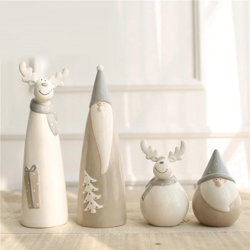 Декоративные объекты статуэтки современные керамические лося статуэтка творческий санта Клаус дома декор ремесел мультфильм уникальные животные рождественские украшения