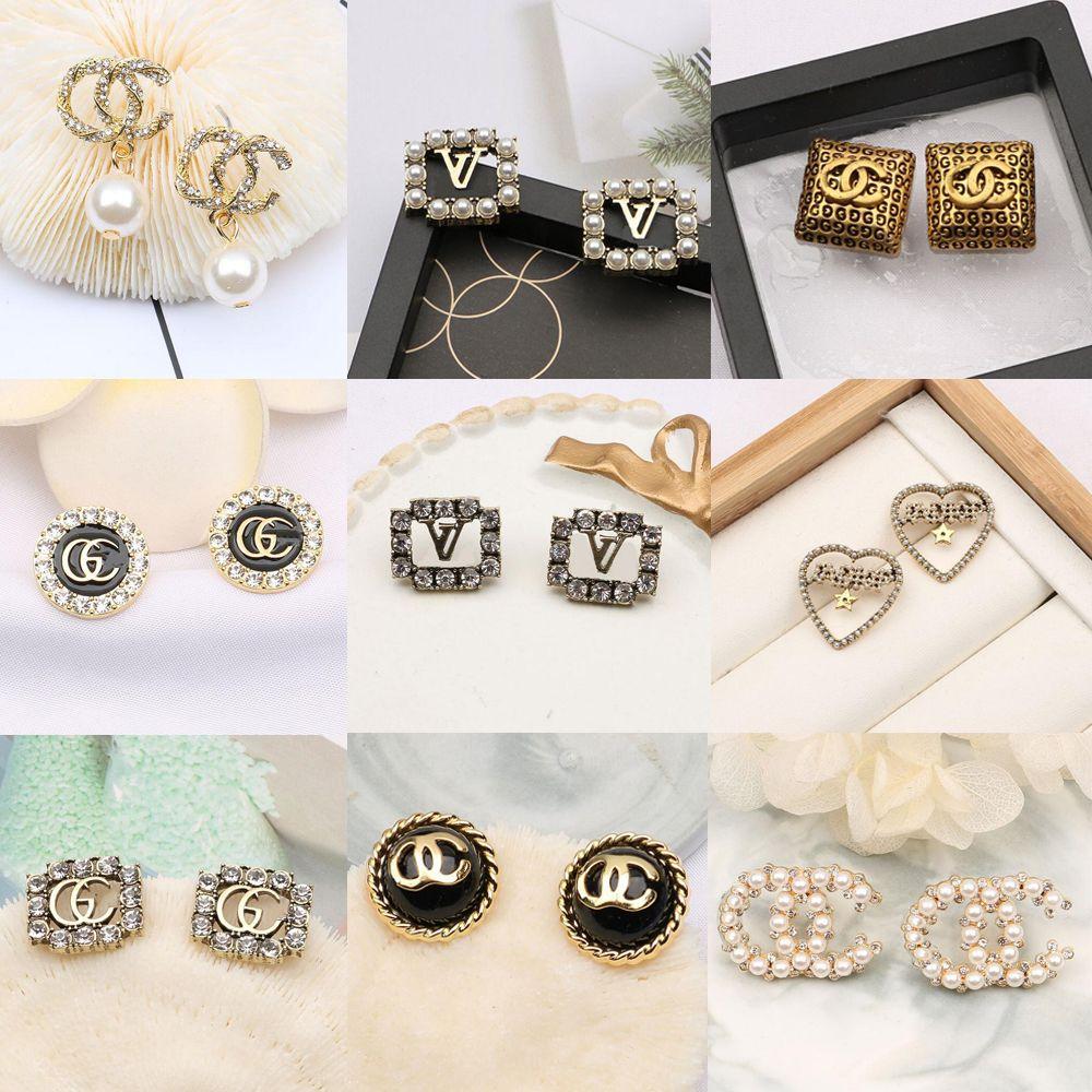 20color 18K 금 도금 브랜드 디자이너 편지 스터드 귀걸이 기하학적 럭셔리 브랜드 여성 모조 다이아몬드 진주 귀걸이 웨딩 파티 Jewerlry 액세서리