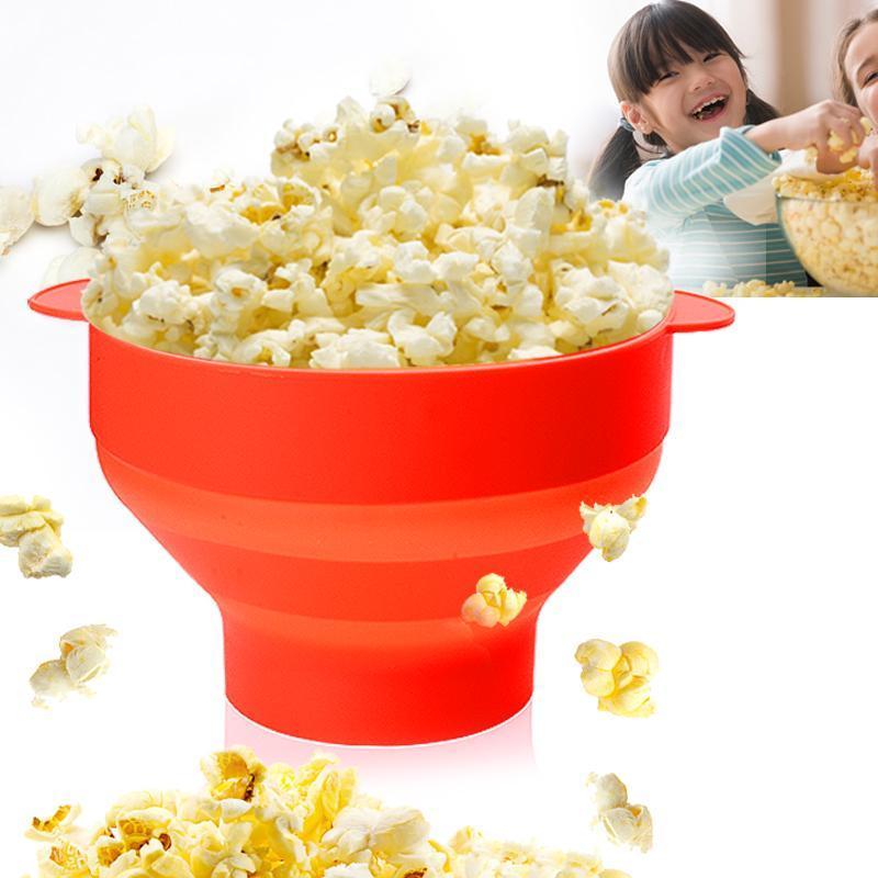 Deitável DIY Silicone Popcorn Maker Microondas Bucketsilicone Bucket Poppers Bowl com tigelas de tampa