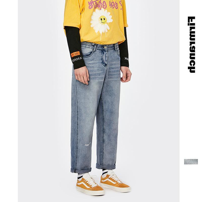 Jeans Masculinos Primavera para 2021 Loose Mulheres Japonesas Jovens Homens Hiphop Pocket Calças Retas Meninos Denim Calças