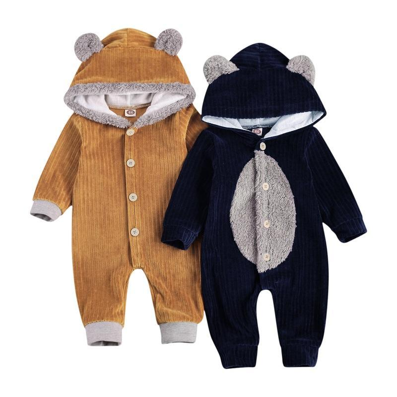 0-18M рожденного мальчика девочка с длинным рукавом одиночный погруженный ухо с капюшоном меховой комбинезон комбинезон теплые одежды