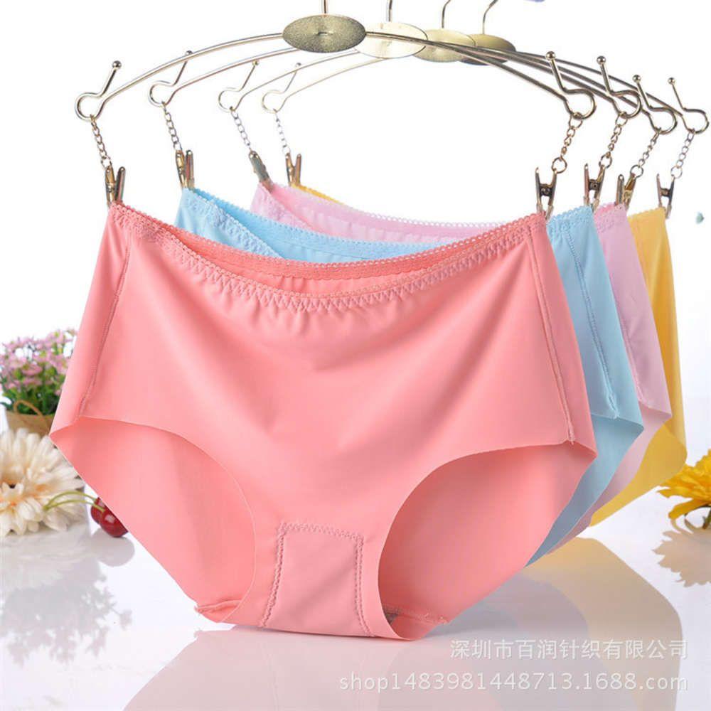 Enlarged version of less than 180 kg fat mm women's traceless underwear ice silk one piece middle waist triangle underwear