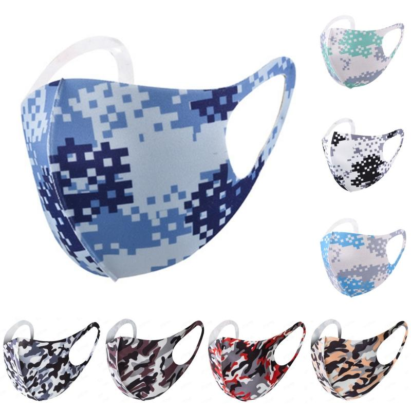 ice silk face mask adult 9 color printed cartoon camo masks for men women black blue green red camouflage dustproof and breathable facemask