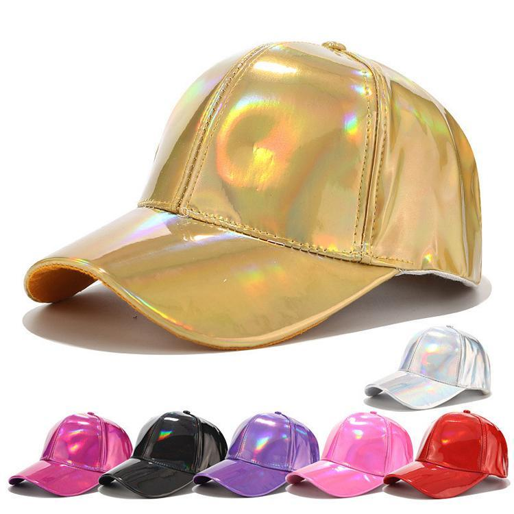 Pu Spring Baseball Cap Laser Color Party Hats Fashion Unisex Casual Street Dance Hat Adjustable Solid Adult Snapback Caps Hip Hop For Women Girls Boys
