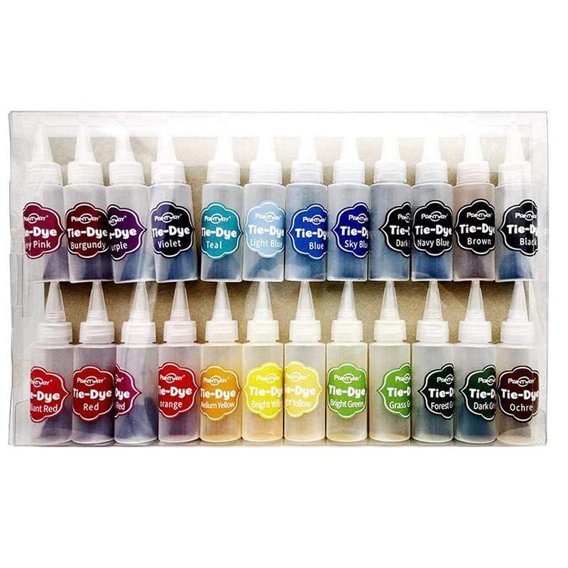 24 pcs tie-tintura kit tecido têxtil tintas vibrante de uma etapa tintura tintura conjunto de arte, tingido de roupas, gravata conjuntos de presente de pigmento