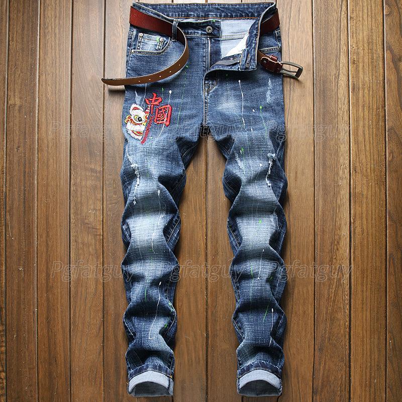 Bahar erkek moda nakış kot iş rahat streç düz bacak slim-fit denim pantolon erkek marka pantolon