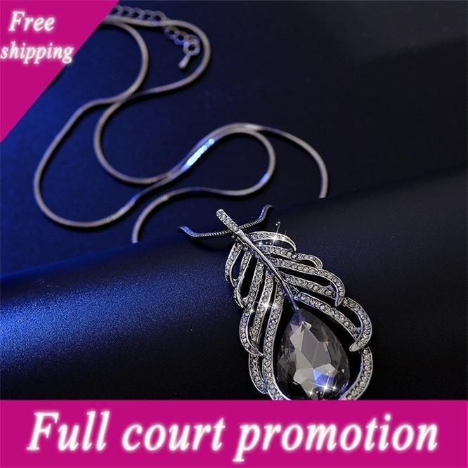 Estilo de moda coreano novo colar de penas cheias de folhas de diamante cadeia de camisola