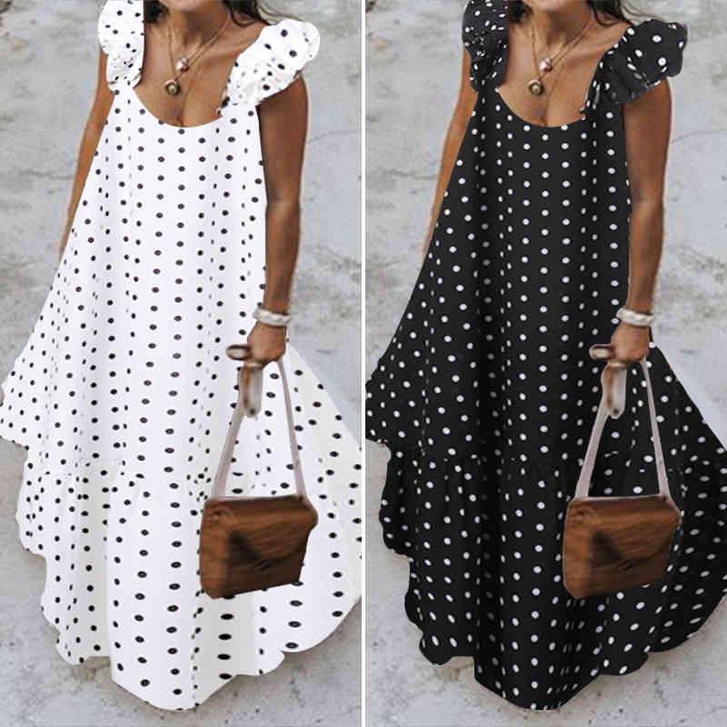 Zanzea 2021 Verano Leopardo Sundress Mujer Bohemian Polka Impreso Maxi Vestido Casual Femenino Robe Sin mangas Roble Largos Vestidos X0521