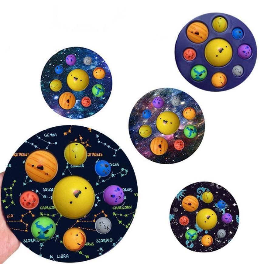 ثمانية كوكب تململ اللعب دفع رائدة في وقت مبكر التعليم تخفيف إصبع الضغط فقاعة الأطفال الحمام لعبة 4966