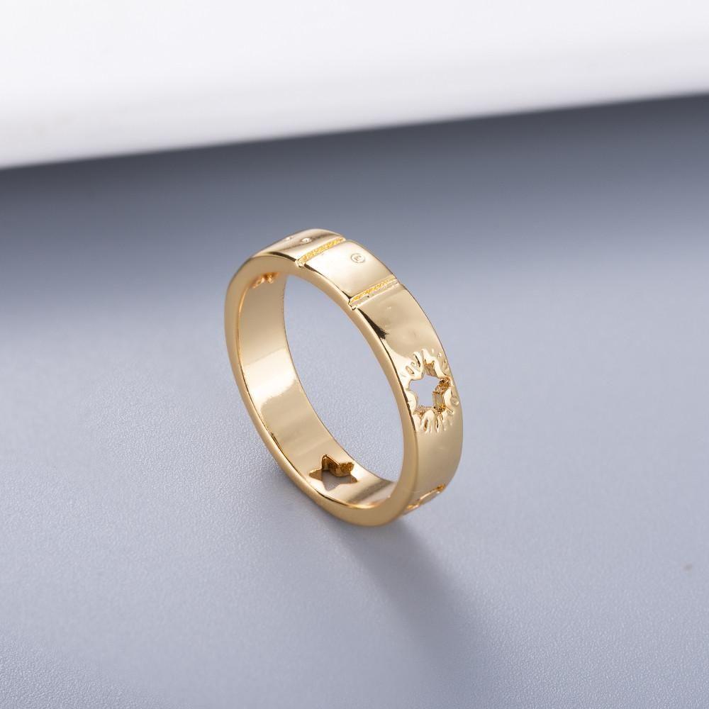 Simple estilo pareja anillo personalidad oro plata plateado con suministro de joyería estrella