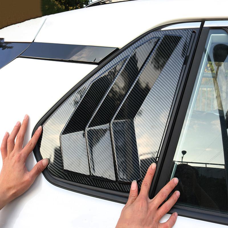 20-21 새로운 도요타 RAV4 리어 창 루버 삼각형 장식 스티커 ABS 탄소 섬유 외부 자동차 부품에 적합