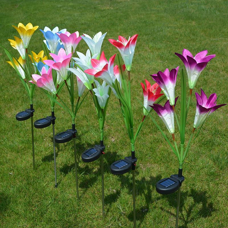 Solar Lily Flowers Lamp Outdoor Waterproof Landscape LED Plug-in Ground Simulation Decorate Lawn Flower Light Suitable for Courtyard Garden Villa Park