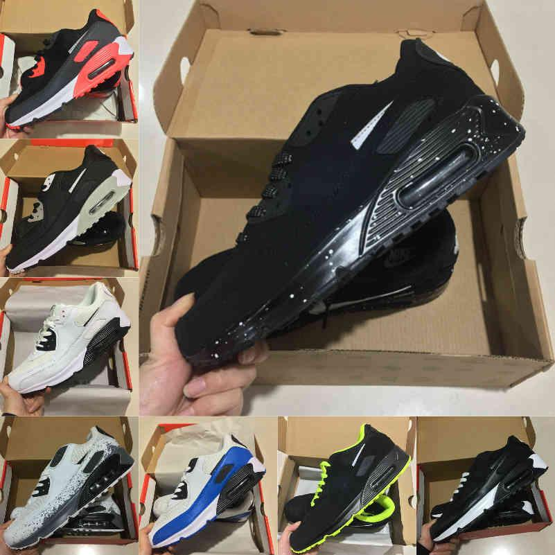 عالية الجودة 2021 جديد الهواء وسادة 90 الاحذية الرجال رخيصة الرجال النساء أسود أبيض 90 ثانية كلاسيكي الهواء مصممي المدرب الأحذية الرياضية في الهواء الطلق Q121