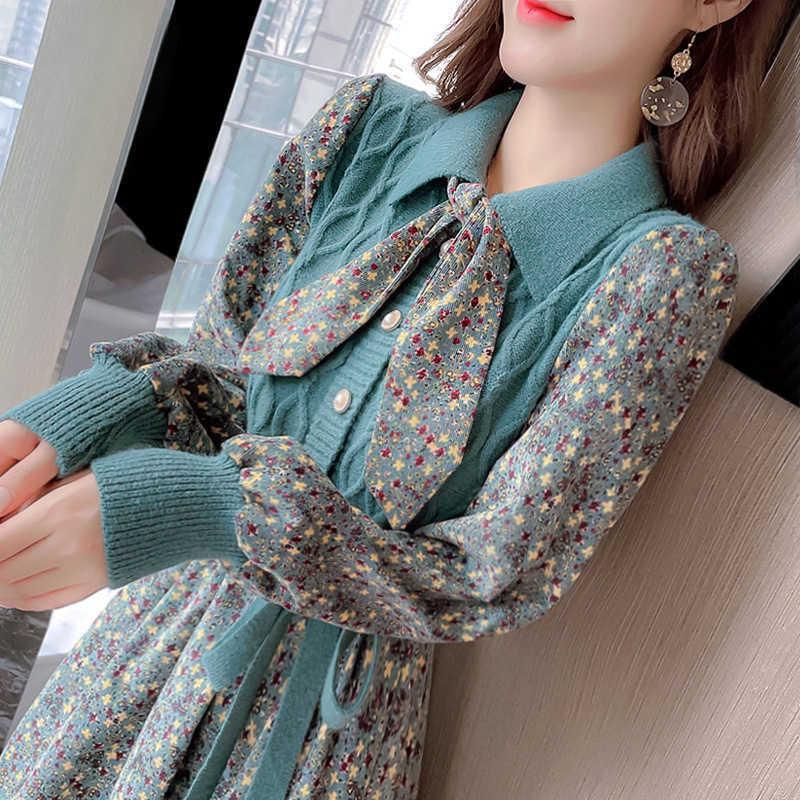 2021 Robe florale de printemps et d'automne Robe de mode pour enfants épissage de la longueur moyenne longueur Tempérament jupe à tricoter