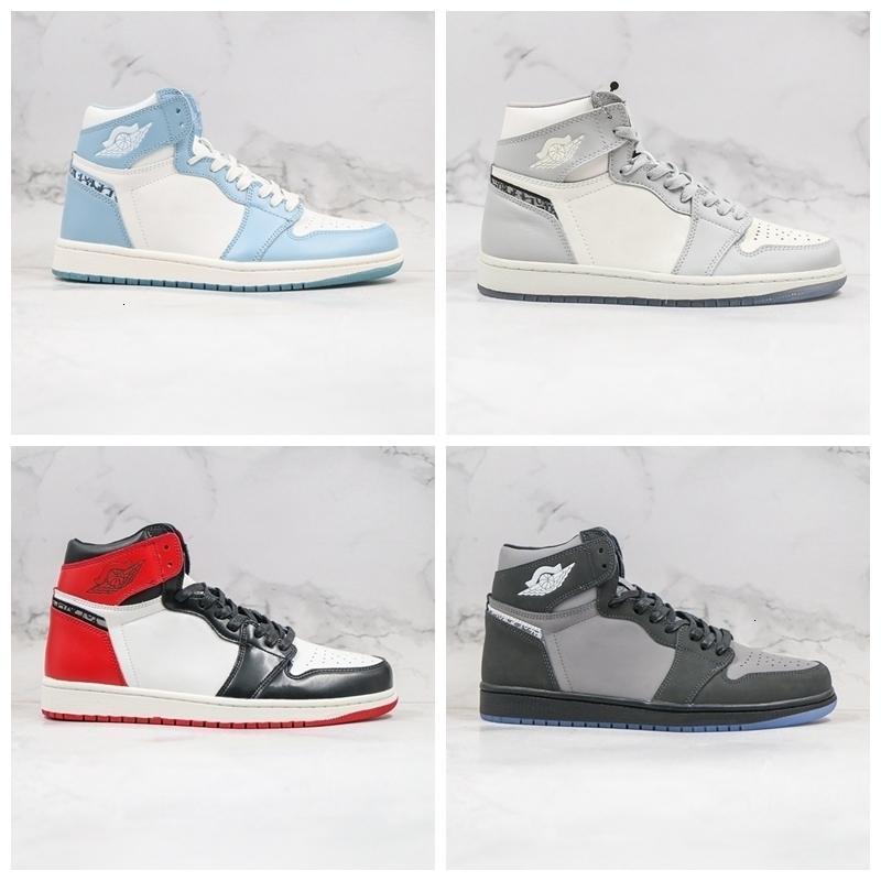 D X Jumpman 1 Yüksek 1 S Gri Açık Mavi Yeni Erkek Basketbol Ayakkabıları D'veya Lüks Tasarımcılar Orijinal En İyi Ayakkabı ile Sneakers 2021 Palet Tenis