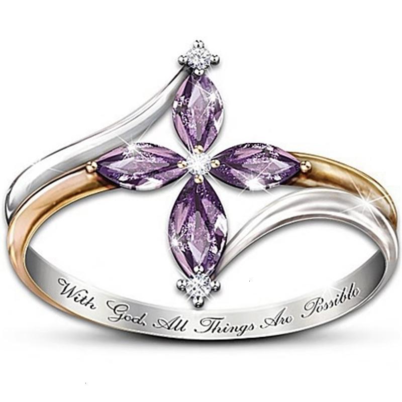 Ring mit Schmuck Eingelegtes lila Pferdeauge Zirkon zwei farbe, kristall subgold
