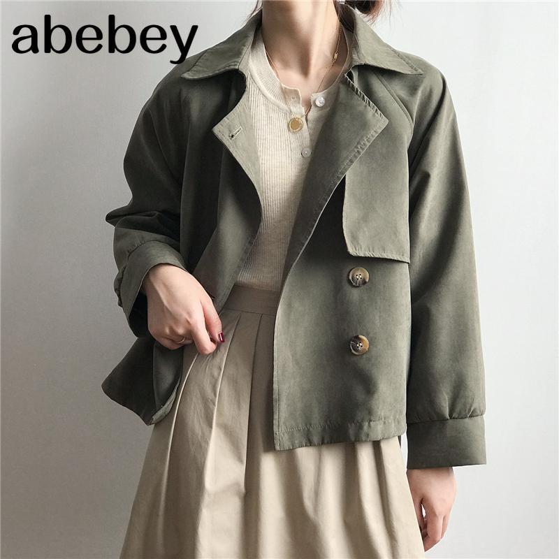 봄 가을 여성의 화물창 캐주얼 빈티지 포켓 겉옷 특대 짧은 트렌치 탑스 코트