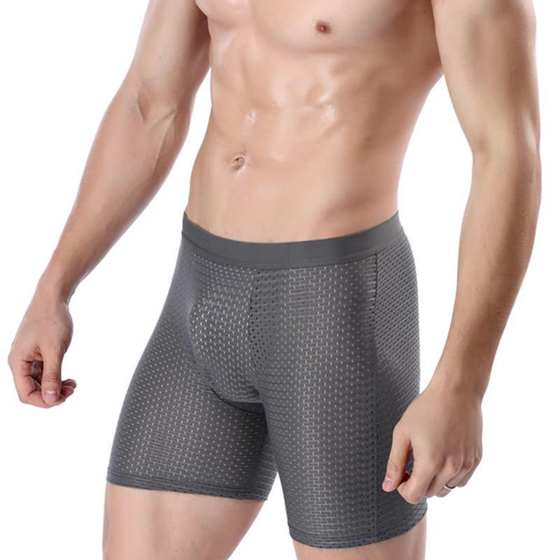 Мужские шорты ледяные шелковые прохладный комфорт дышащие подруги сетки длинные ноги короткие вискозное белье для мужчин брюки Innerwear подарок