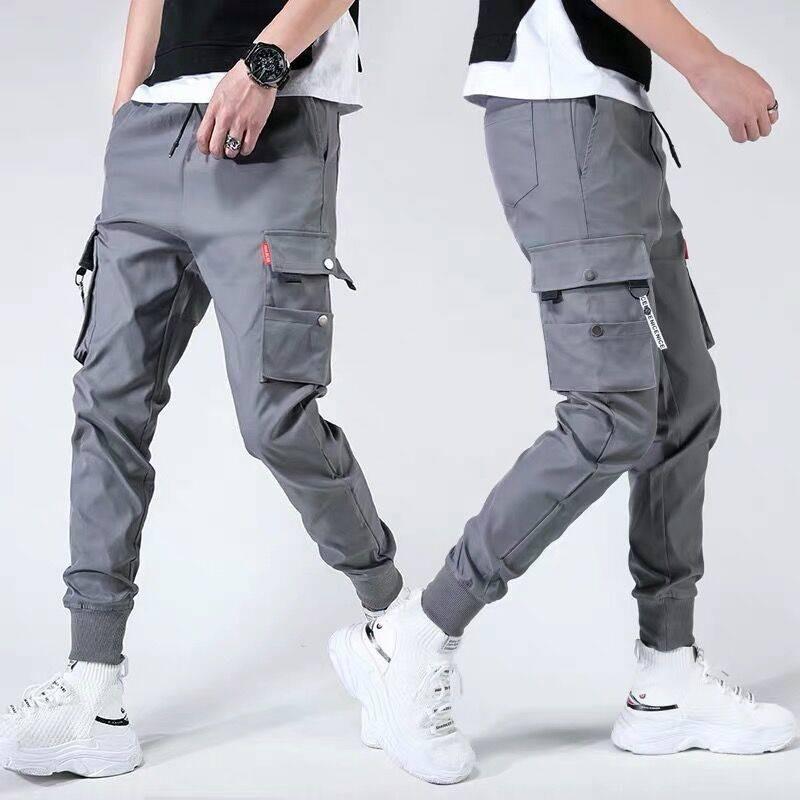 Männer Seitentaschen Cargo Harem Hose 2021 Hip Hop Casual Male Tatical Joggers Hosen Mode Streetwear