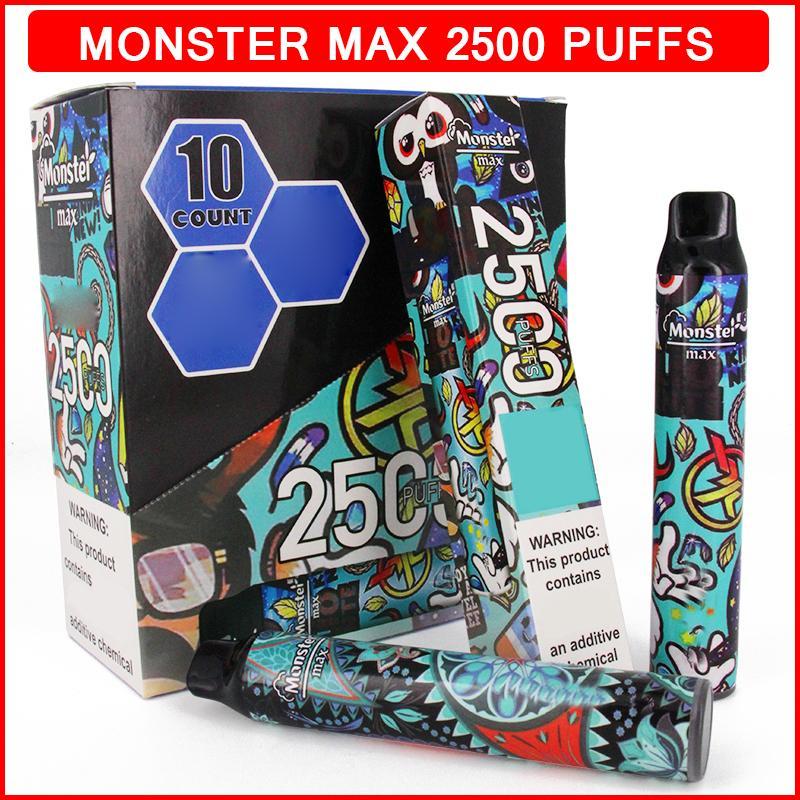몬스터 맥스 2500 퍼프 전자 담배 일회용 vape 7.5ml 포드 카트리지 650mAh 배터리 프리 퀼트 전자 액체 cigs eCigarette