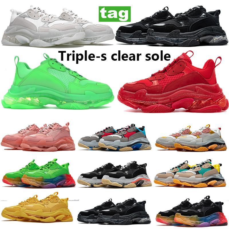Moda Paris Preto Sapatos Casuais Triple-S Clear Sole Poeira Cinza Cinza Vermelho Metálico Festa de Prata Homens Mulheres Sapato Sapato Volt Linho Sneakers