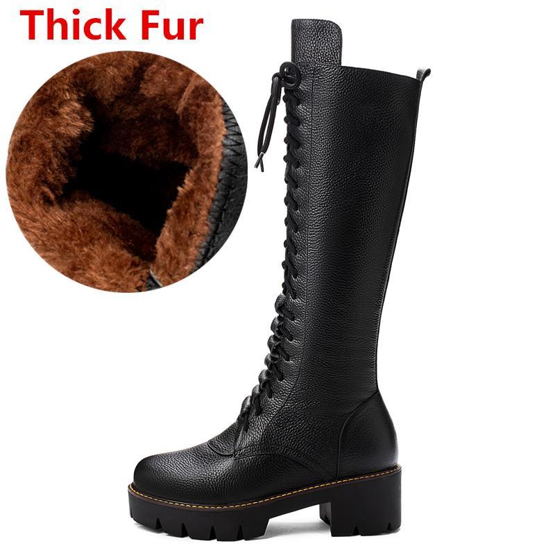 Asumer 2020 nuevos botas de cuero genuino de vaca completa mujeres Plaza de tacones altos Lace Up Boots de invierno Damas Knight Knight High Snow Boots