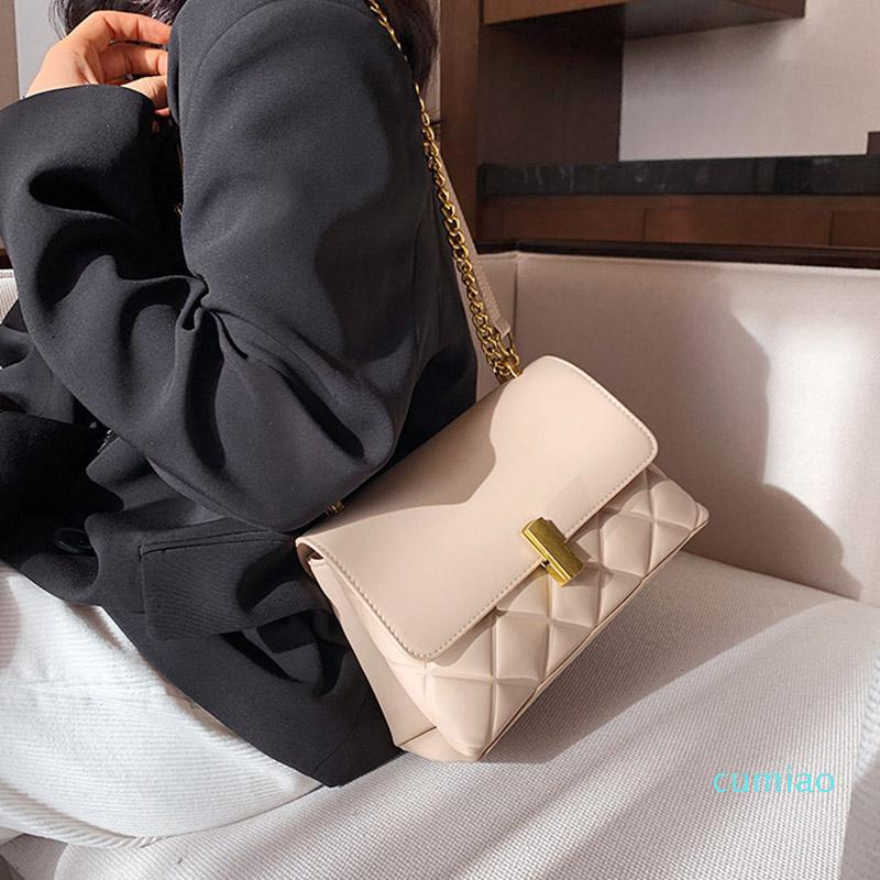 Evening Bags Handbags 2021 Women's Fashion Small Pu Leather Shoulder Bag Designer Famous Solid Color Chain Crossbody Purses