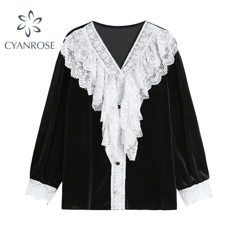 Camicia in chiffon in chiffon da donna in pizzo bianco vintage in pizzo bianco e manica lunga con maniche lunghe coreano blusa nera 210515