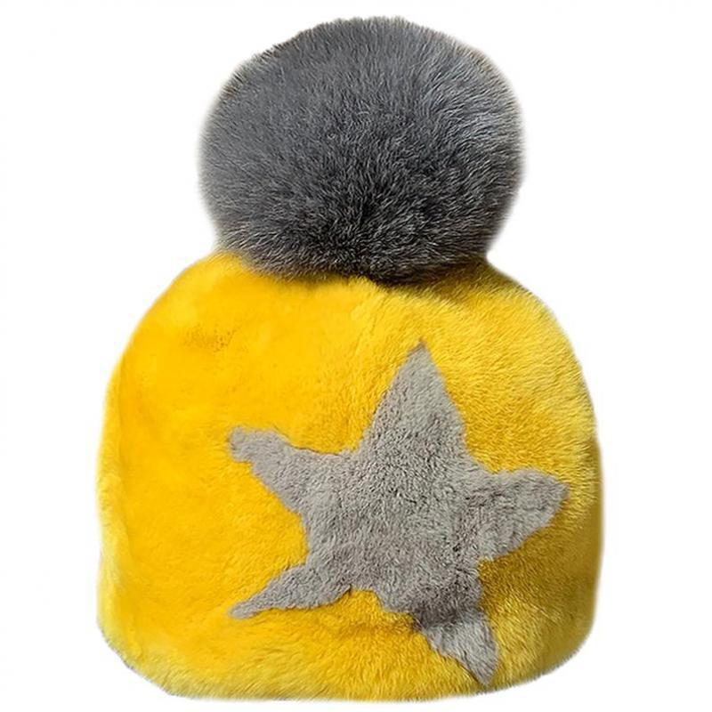 Sombrero mujer invierno rex piel moda cálida tendencia real pelo dibujos animados dulce lindo gorro de paja / gorras de cráneo