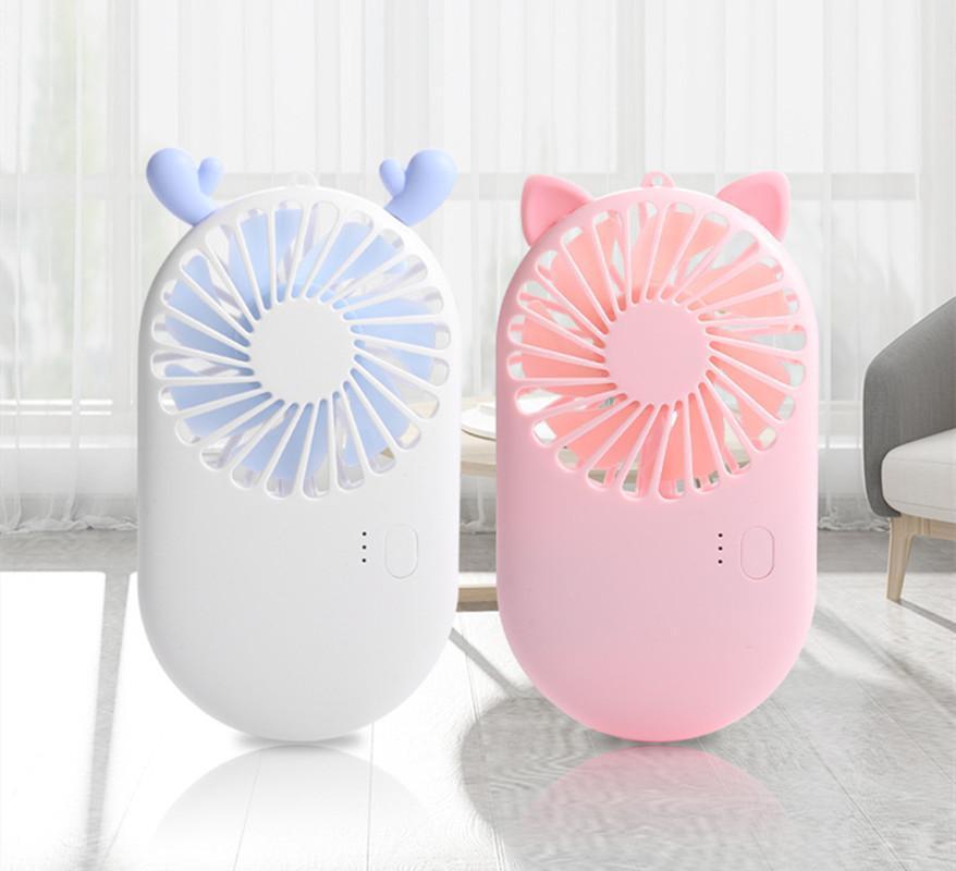 Été mignon mini-ventilateur portable Mini de poche USB Fans de bureau chargable USB 3 mode refroidisseur réglable pour bureau de voyage extérieur électrique électrique