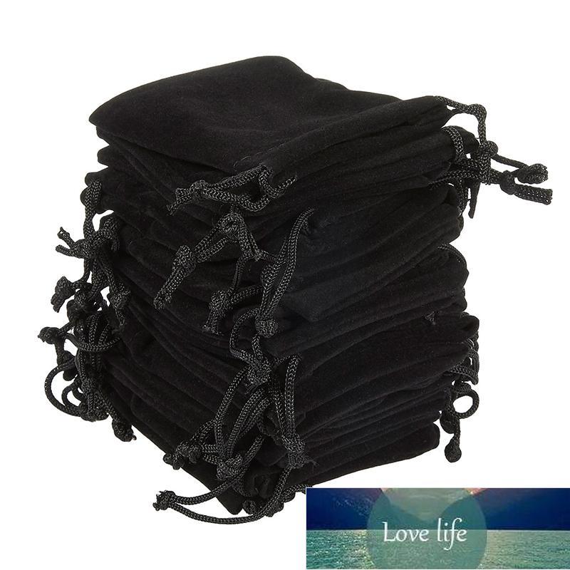 Yumuşak Kadife Torbalar İpli Takı Hediye Ambalaj Paketi Paket Paketi Parti Düğün Malzemeleri için Paket Paketi Siyah