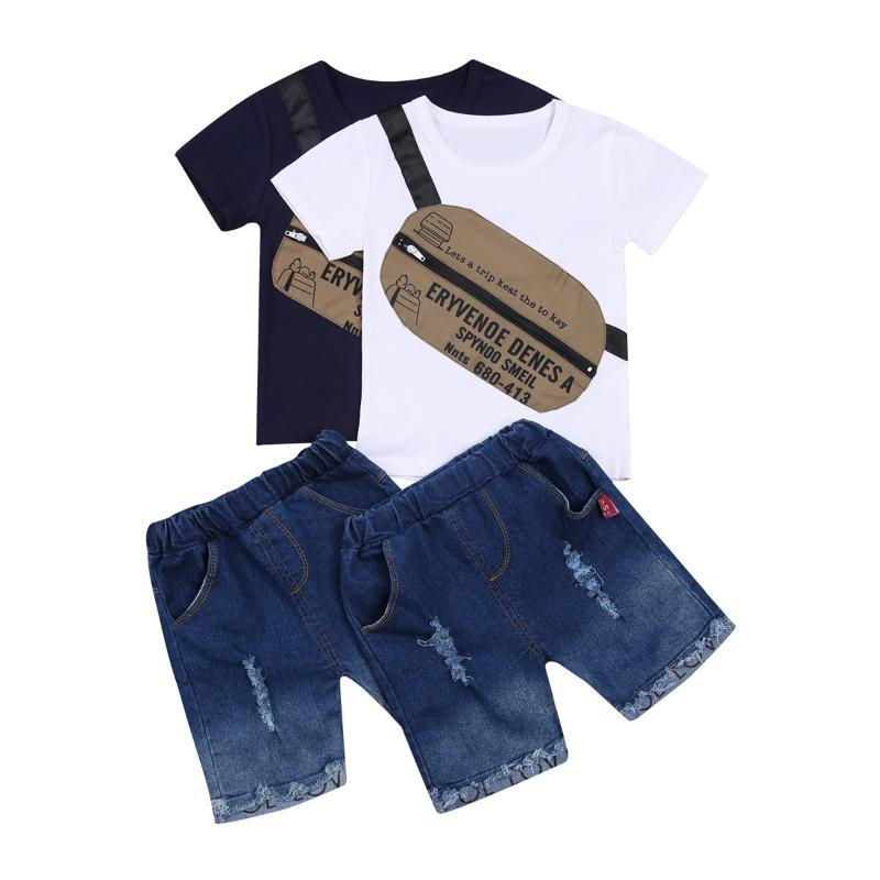 Clothing Sets 2021 Casual 0-5Y Kids Baby Boy Personalized Stitching Shoulder Bags Short Sleeve T-shirt+Letter Holes Denim Shorts 2pcs