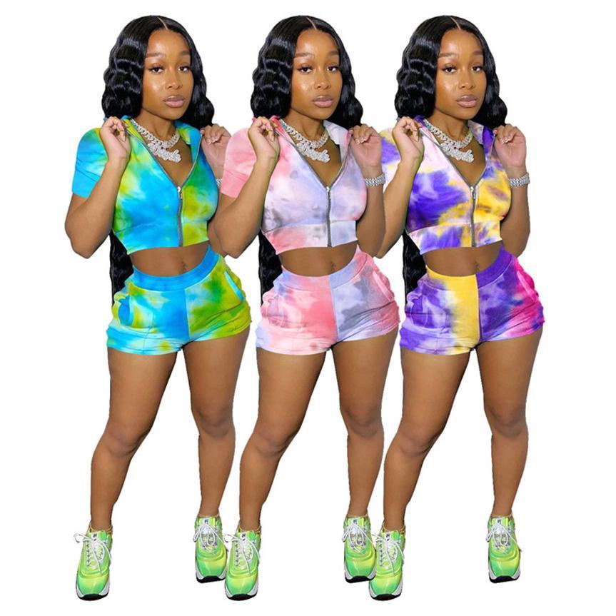 Frauen Krawattenfarbstoff Trainingsanzüge Sommerkleidung Plus Größe S-2XL Outfits Sexy Zwei Stück Sets Kurzarm T Shirts + Mini Shorts Casual Jogger Anzug 4708