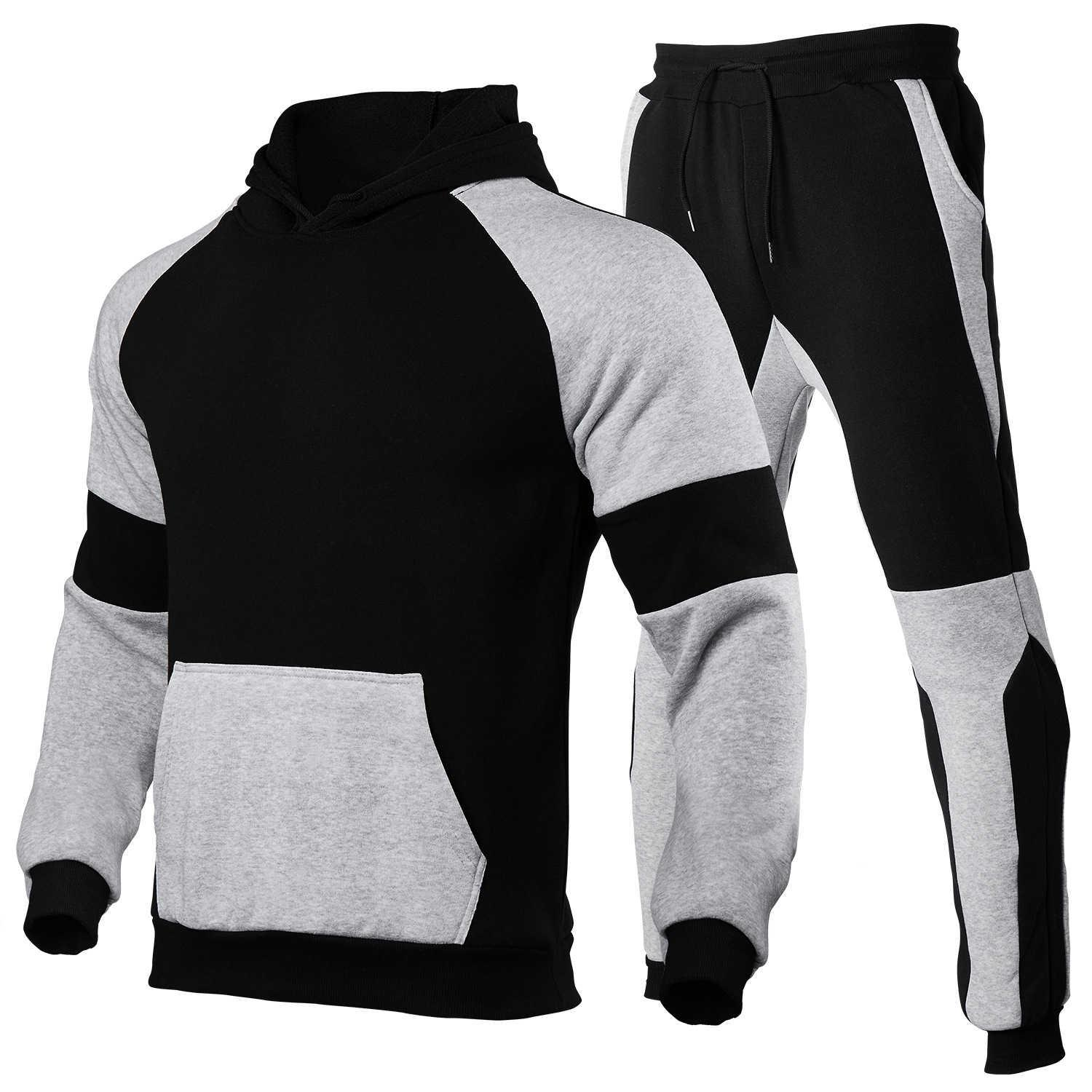 Men's Hoodie suit contrast tracksuits stitching sports blank solid Pullover