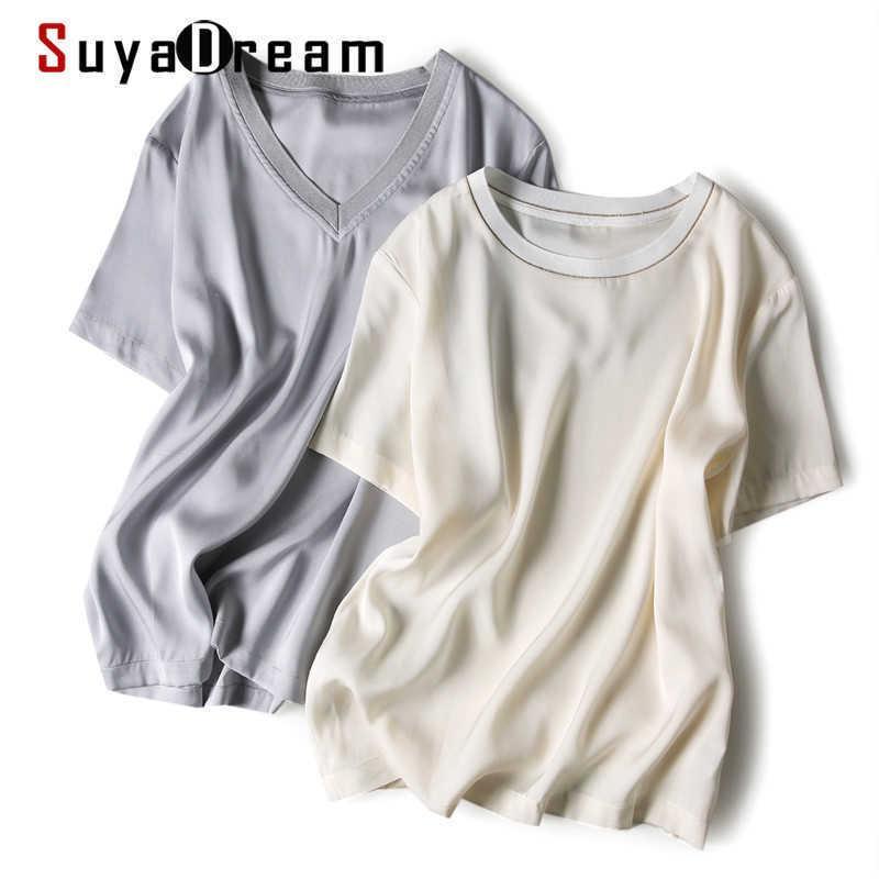 Suyadream frauen contrast t shirt seide doppel joe kurze ärmel silber schick shirt frühling sommer tee 210603